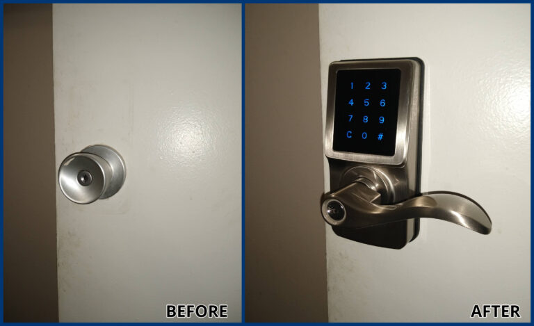 before and after door lock
